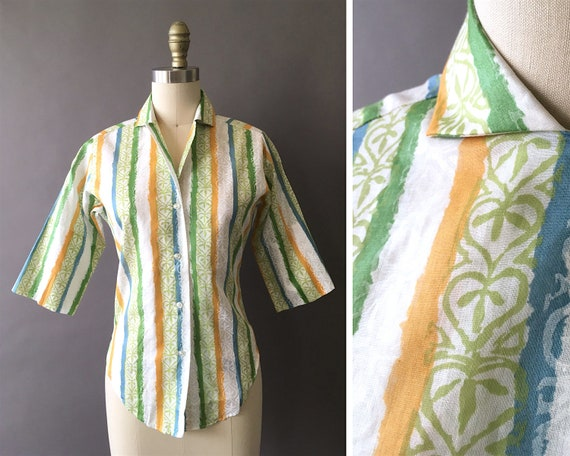 50s The Sunny Painter Shirt - 1950s Vintage Button