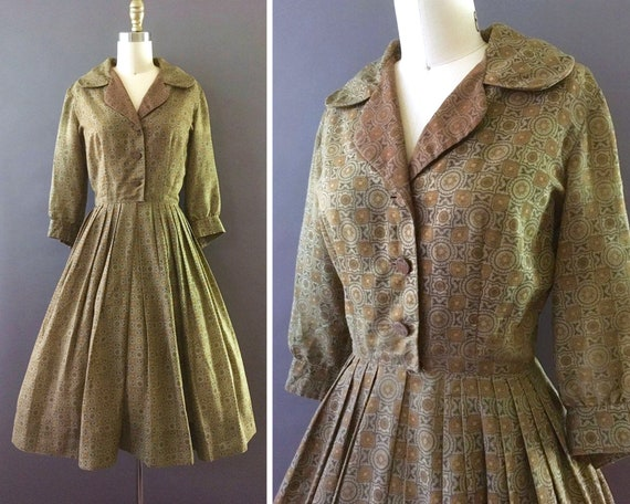 50s Classic Lady Dress - 1950s Vintage Brown Golde