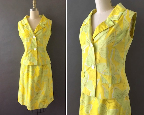 50s Sun and Butterflies Dress - 1950s Vintage Yell