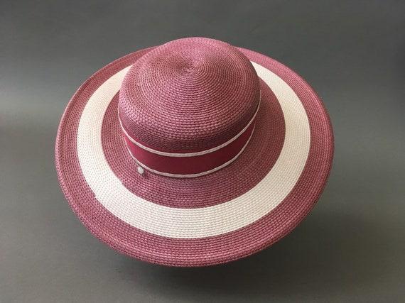 Vintage Double Roses Hat - Wide Rim Pink Wine Str… - image 6