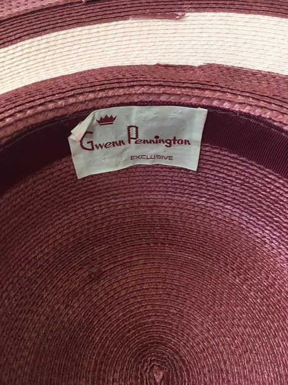 Vintage Double Roses Hat - Wide Rim Pink Wine Str… - image 9