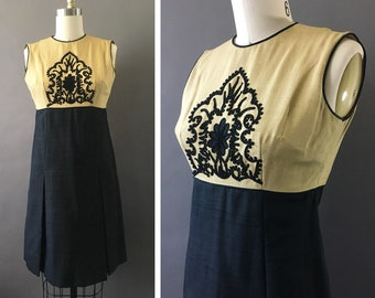 60s Silk Award Dress - 1960s Vintage Gold Black Dress - Sleeveless Two Toned Dress w Soutache Embroidered Floral Motif - Pleated Skirt