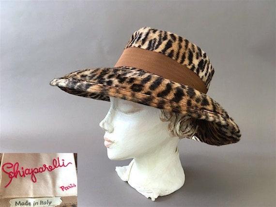 50s Schiaparelli Hat - 1950s Vintage Leopard Desig