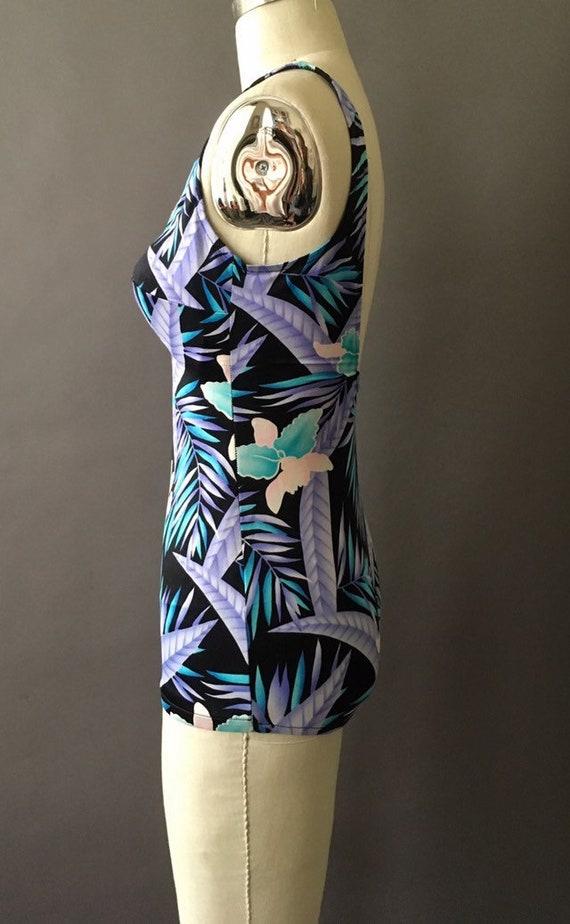 70s Neon Jungle Bathing Suit - 1970s Floral Vinta… - image 4