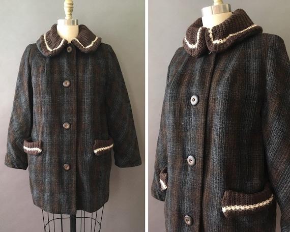 40s Choco Plaid Coat - 1940s Vintage Wool Brown Gr