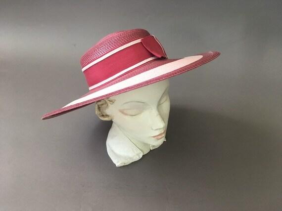 Vintage Double Roses Hat - Wide Rim Pink Wine Str… - image 3