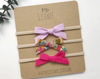 Trio loops tied on headband - baby girl and boy - bias - lilac, retro, flash pink flowers