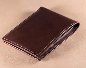 Men's bifold wallet-Dark Brown Italian Buttero leather