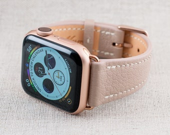 38MM/40MM Apple Watch Band-Chèvre Leather Rose Beige