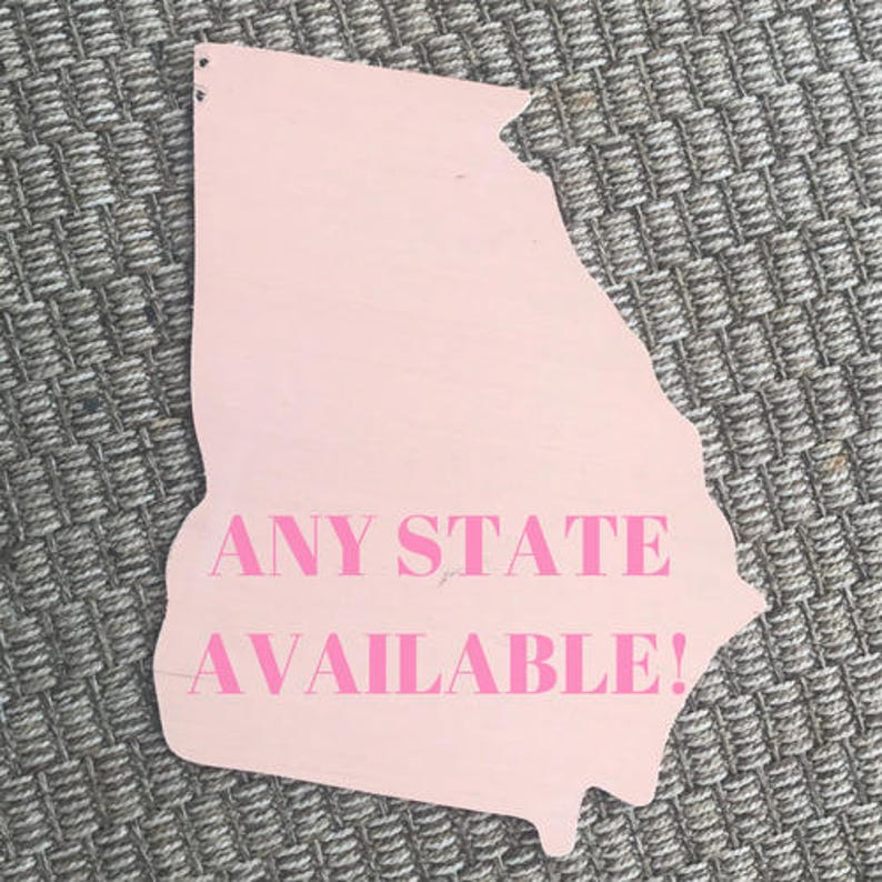 Wooden Sign State Wooden Blank Georgia Door Hanger DIY Wooden Blank Unfinished State Cutout State Door Hanger Blank State Cutout