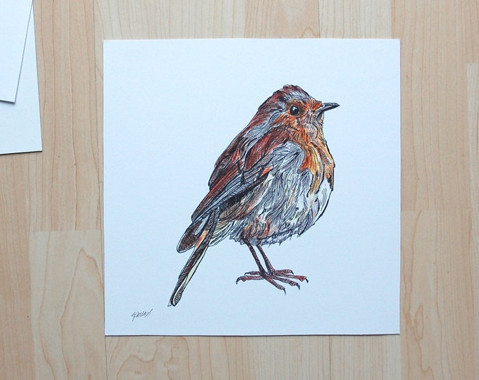 Robin Illustration unframed/framed printed onto eco friendly card 10x10""
