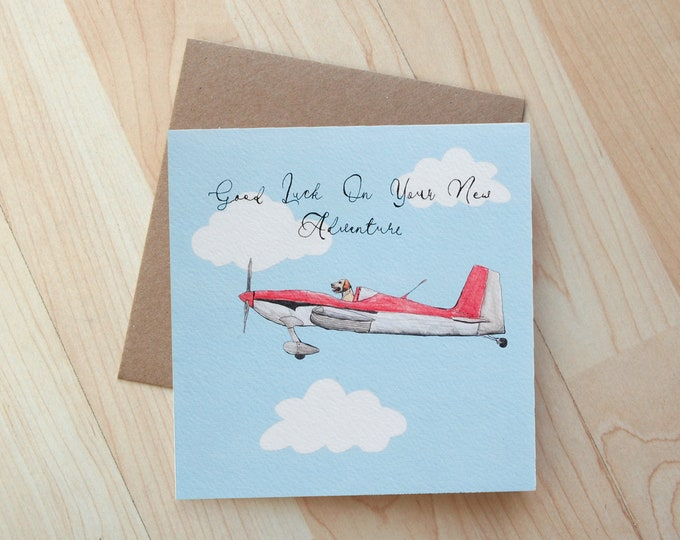 Good Luck On Your New Adventure Dog Plane illustration card printed on eco friendly card
