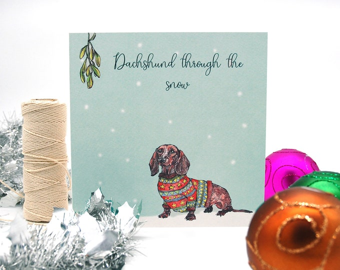 Daschund Illustration Christmas Card printed onto eco friendly card