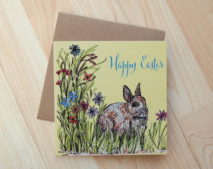 Rabbit illustration Happy Easter Greeting Card printed on eco friendly card