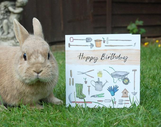 Garden illustration Birthday Card printed onto eco friendly card