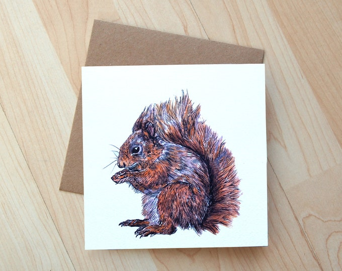 Red Squirrel illustration Greetings Card printed onto eco friendly card