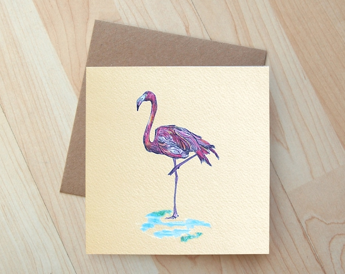 Flamingo illustration Greetings Card printed on eco friendly card
