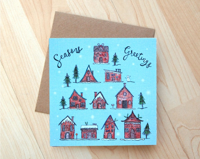 Seasons Greetings Ilustrations Greetings Card printed onto eco friendly card