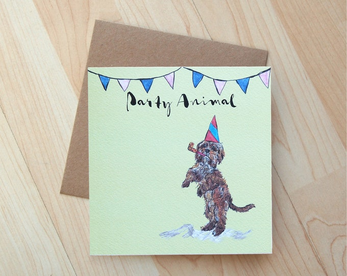 Cockapoo illustration Birthday Card printed on eco friendly card