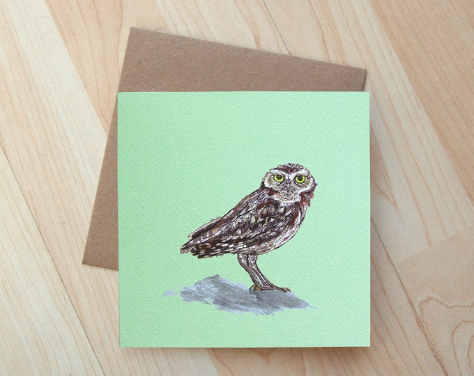 Burrowing Owl  illustration Greetings Card printed on eco friendly card