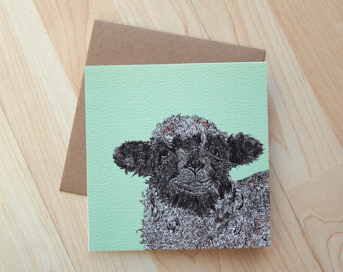 Lamb illustration Easter Greeting Card printed on eco friendly card