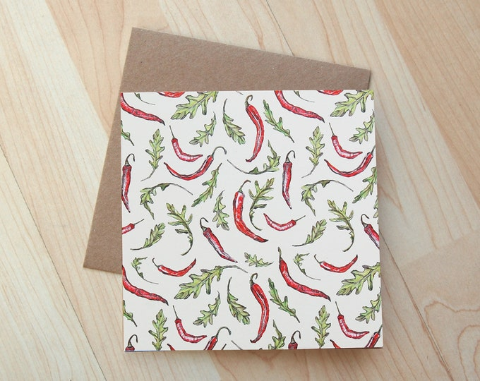 Chilli and Rocket illustration Greetings Card printed on eco friendly card