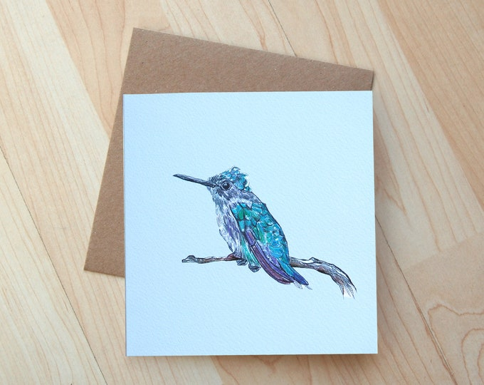 Bee Hummingbird illustration Greetings Card printed on eco friendly card