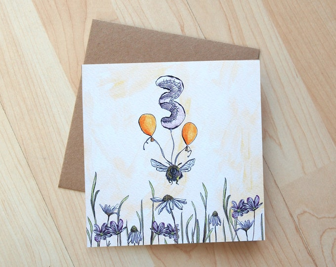 Bee Illustration 3rd Birthday Card printed on eco friendly card