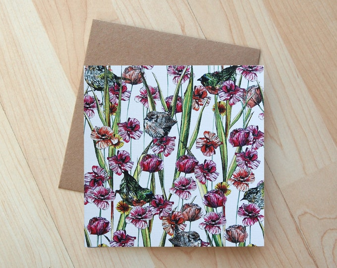 Garden Birds illustration Greetings Card printed onto eco friendly card