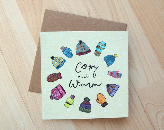 Cosy & Warm Christmas Card printed onto eco friendly card