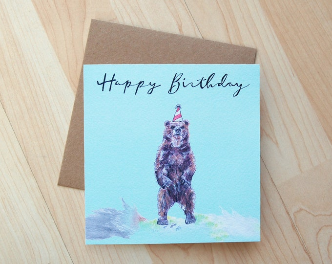 Bear Birthday Card printed onto eco friendly card