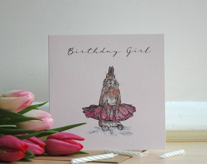 Rabbit Ballerina Birthday Card printed on eco friendly card