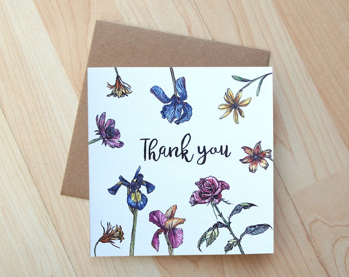 Thank You floral illustration Greetings card