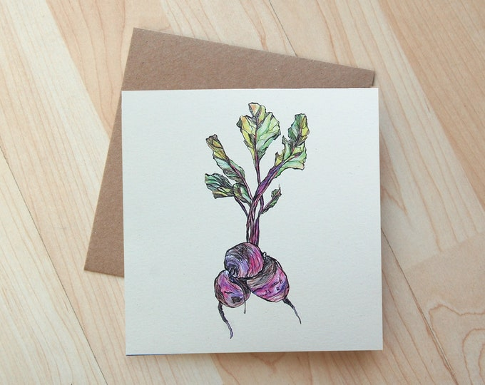 Beetroot illustration Greetings Card printed on eco friendly card