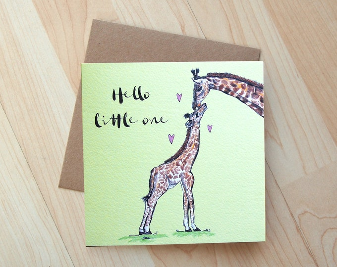 Hello Little One new baby Card printed on eco friendly card