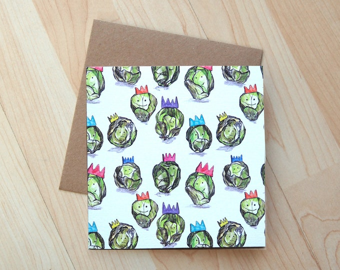 Brussel Sprouts Illustration Christmas card printed onto eco friendly card