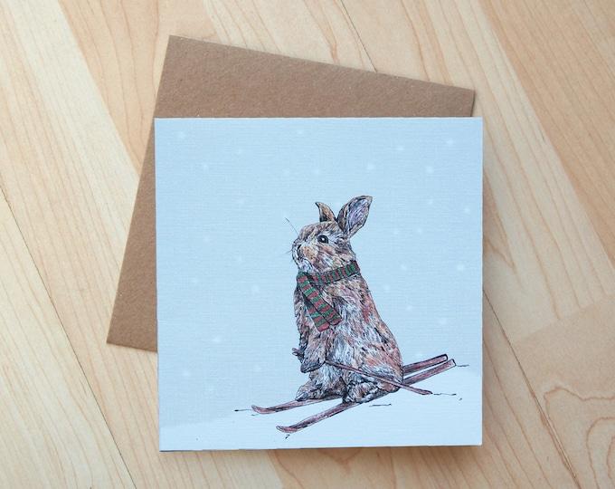 Skiing Bunny Illustration Christmas Card printed onto eco friendly card