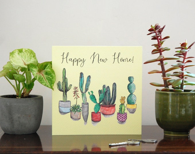 New Home cactus illustration Greetings Card printed on eco friendly card