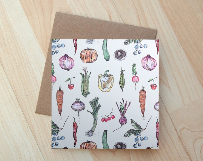 Allotment Vegetable illustration Greetings Card printed on eco friendly card