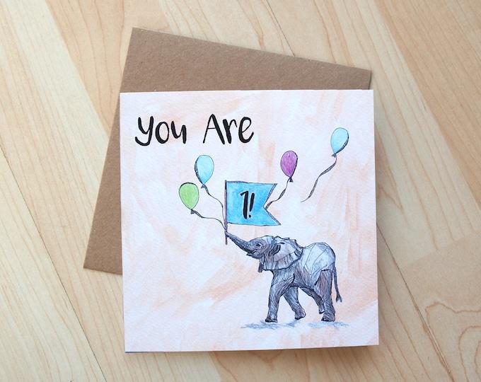 1st Birthday Elephant card printed on eco friendly card