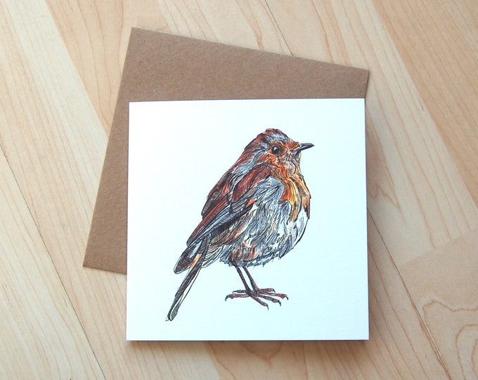 Robin illustration Greetings Card printed onto eco friendly card