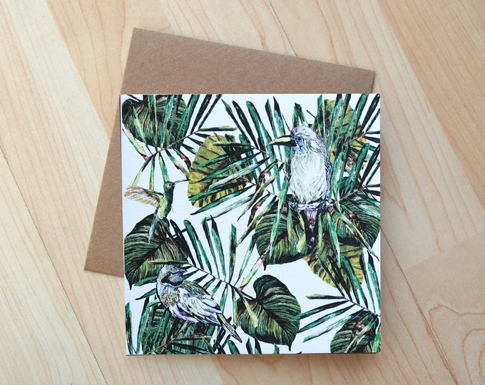 Tropical Birds illustration Greetings Card printed onto eco friendly card