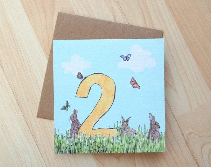 2nd Birthday Rabbit Meadow illustration card printed on eco friendly card