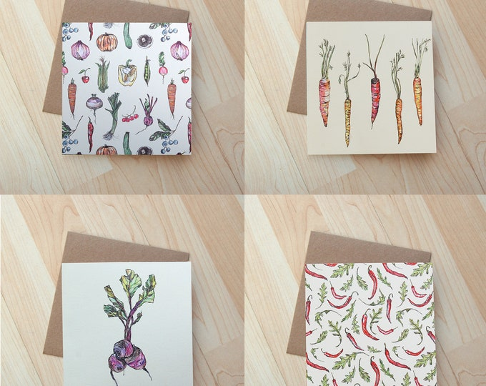4 x Vegetable illustration cards beautifully printed onto textured eco friendly card.