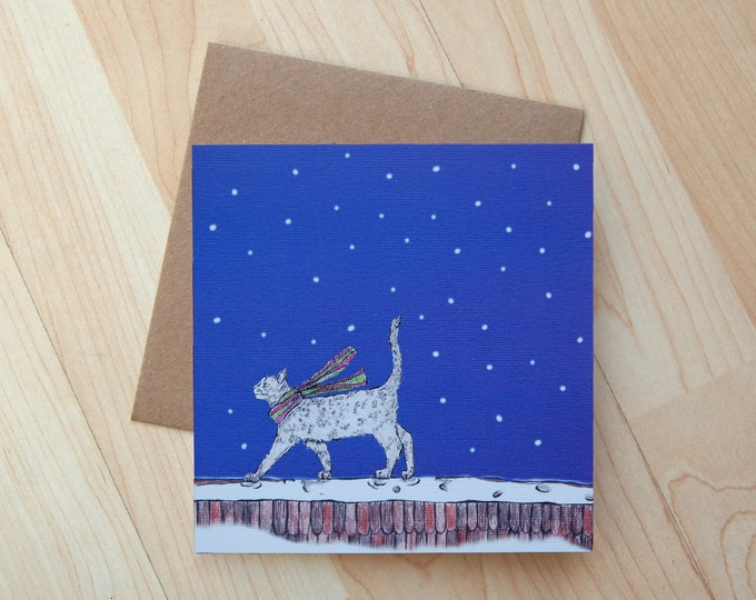 Cat Illustration Christmas Card printed onto eco friendly card
