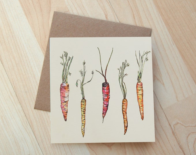 Rainbow Carrot illustration Greetings Card printed on eco friendly card