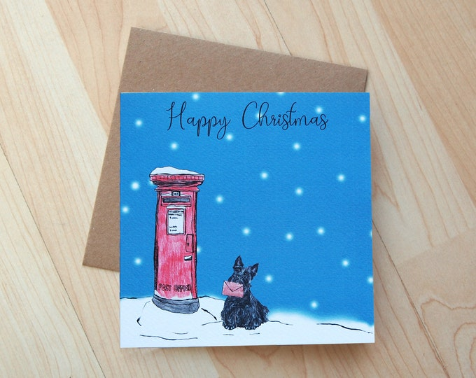 Scottie Dog and Red Postbox Illustration Christmas Card printed onto eco friendly card