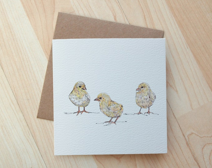 3 Little Chicks Easter Greeting Card printed on eco friendly card