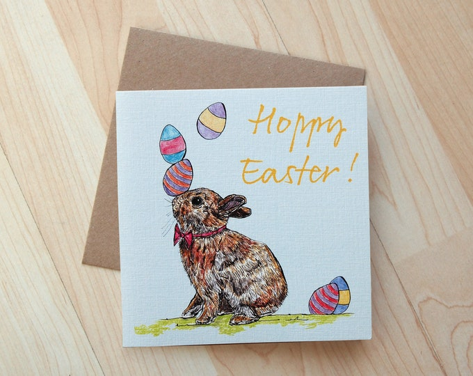 Rabbit illustration Hoppy Easter Greeting Card printed on eco friendly card