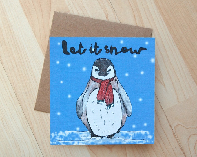 Baby Penguin Illustration greetings card printed onto eco friendly card